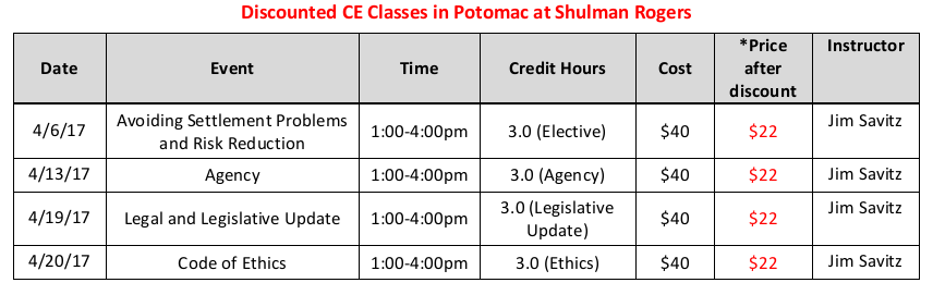 CE Classes at Shulman Rogers April 2017